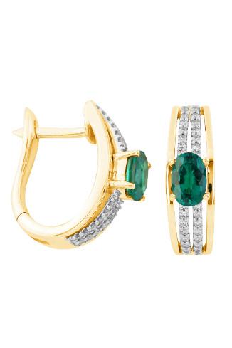 VALTERA Золотые серьги с бриллиантами и изумрудами, 17 490 руб.