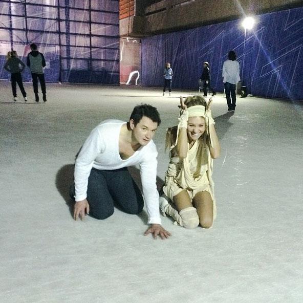 Кристина Асмус и ее партнер Алексей Тихонов. Последняя репетиция перед выступлением