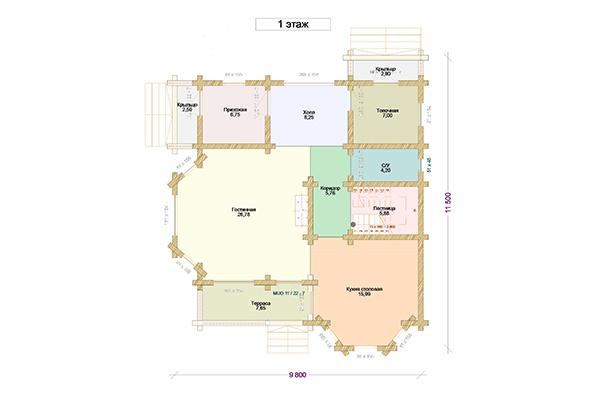 План первого этажа дома Татьяны Арно
