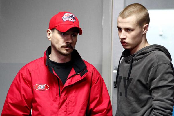 Иван Мулин с Денисом Никифоровым, который играет тренера Макеева