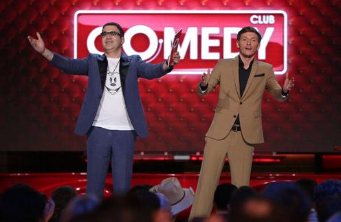 Павел Воля и Гарик Мартиросян на съемках Comedy Club