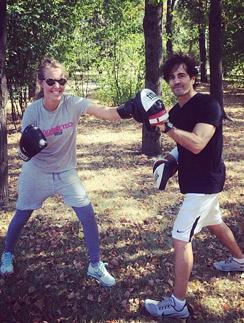 Ксения Собчак на тренировке по боксу
