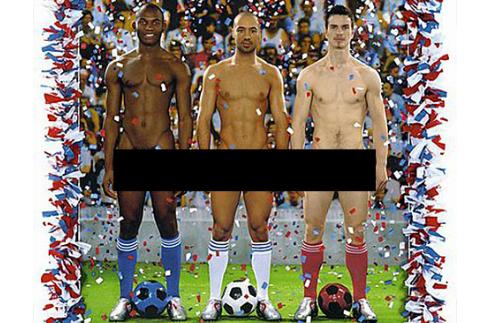 Французские футболисты. Плакат с улиц Вены