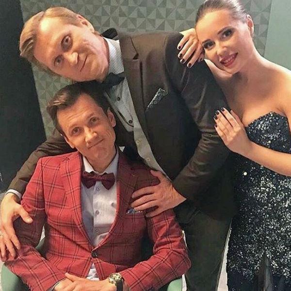 Юлия Михалкова с Андреем Рожковым и Вячеславом Мясниковым