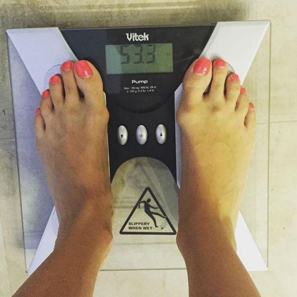 Наташа была обрадована цифрам, которые появились на дисплее весов