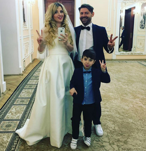 Лера Массква с супругом Павлом Евлаховым и сыном Платоном