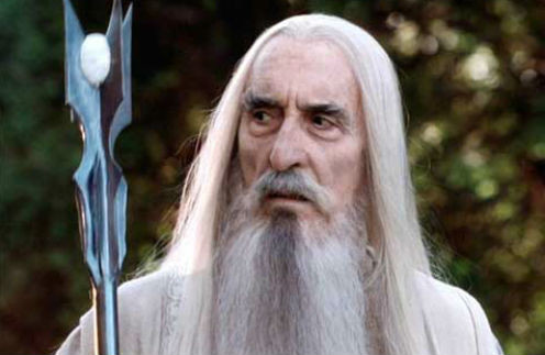 Кристофер Ли в образе волшебника Сарумана