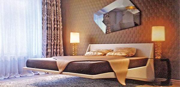 Изюминкой спальни станет «летающая» кровать Dylan Bed, примерная стоимость 150 тысяч рублей
