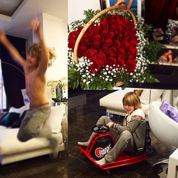 К машине для Артема прилагалась корзина красных роз для его мамы