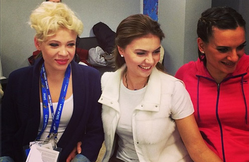 Тина Кузнецова, Алина Кабаева и Елена Исинбаева
