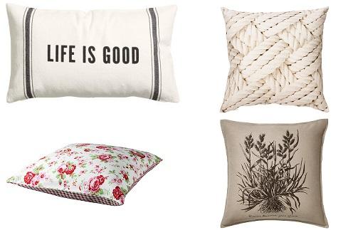 Подушки H&M, IKEA