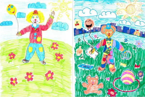 Эти рисунки Марине подарили дети. На них любимый клоун Сосискин – здоровый и счастливый