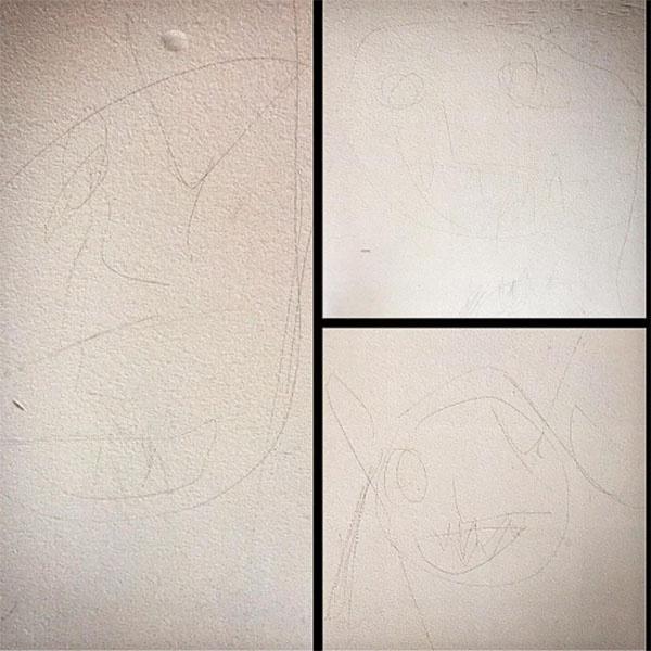 «Практически наскальные рисунки обнаружила сегодня на белой стене в прихожей», - поделилась творческими работами одного из сыновей Полина Диброва
