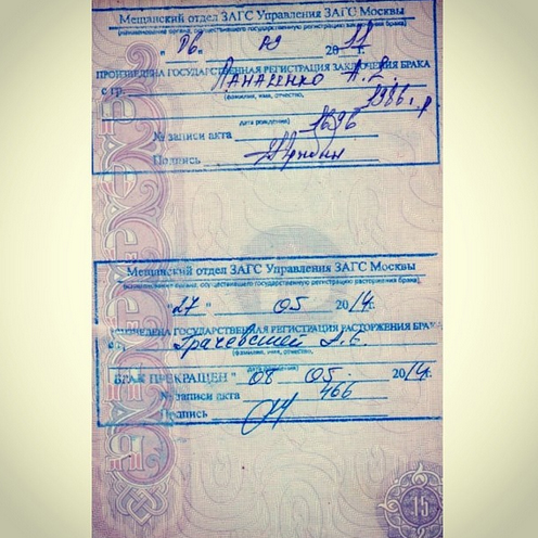 Страничка из паспорта Бориса Грачевского