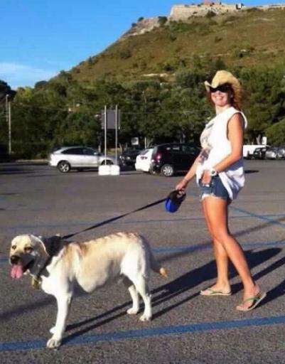Фриске с любимой собакой Улей