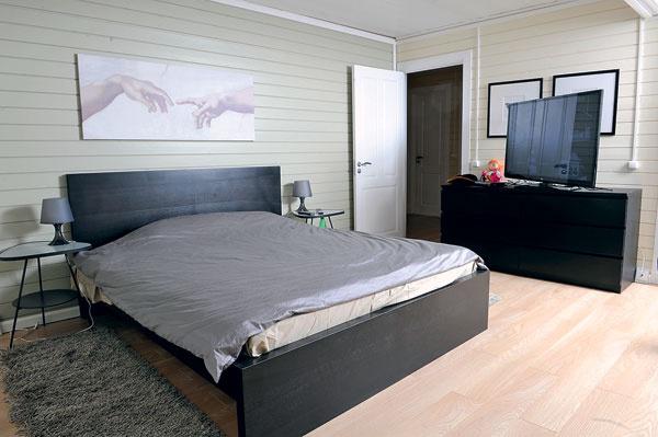 В доме два телевизора. Тот, что поменьше, – в гостиной. Большая (панель) – в спальне