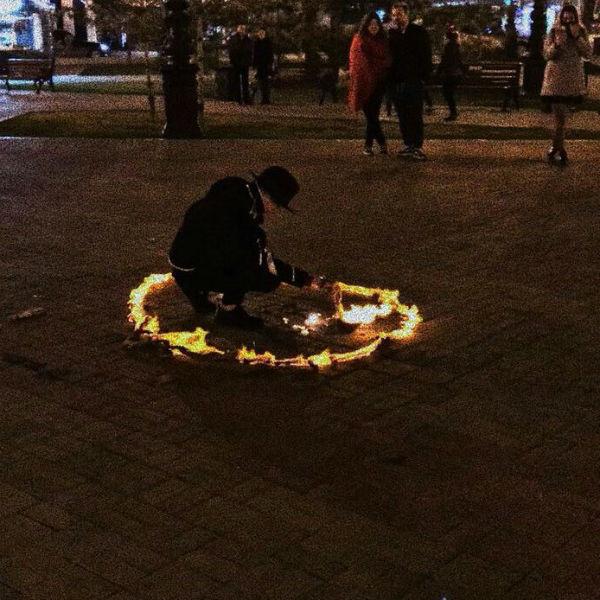 Ритуал проводился в центре Уфы поздно вечером