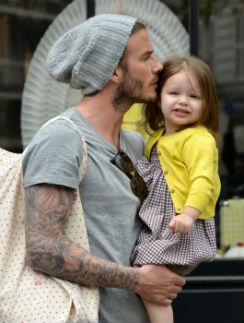 Дэвид Бекхэм с малышкой Харпер