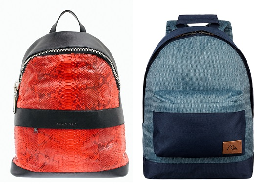 Рюкзак слева: Philipp Plein, Рюкзак справа: Quicksilver