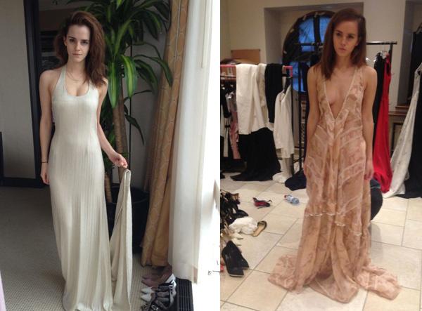 На других фотографиях Эмма Уотсон выбирает вечернее платье