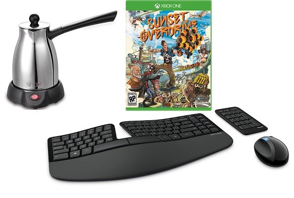 Кофеварка для кофе по-турецки Sinbo,Игра для Xbox One Sunset Overdrive, Клавиатура и мышь Microsoft Sculpt Ergonomic Desktop