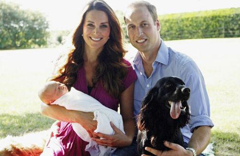Кейт Миддлтон с принцем Георгом, принц Уильям
