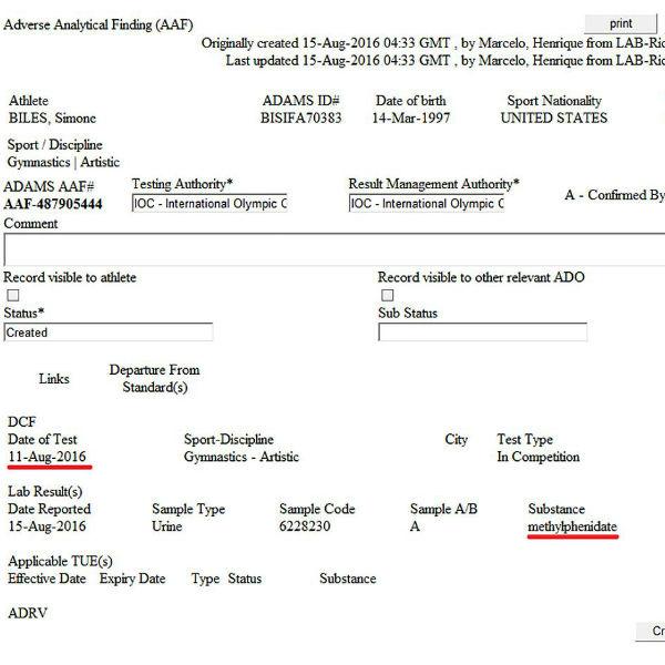 Обнародованные документы WADA