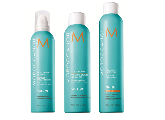 Мусс для объема Moroccanoil Volumizing Mousse,Спрей для прикорневого объема Moroccanoil Root Boost,Лак для волос сильной фиксации Moroccanoil Luminous Hairspray Strong