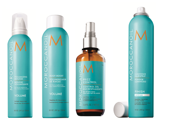 Мусс для объема Moroccanoil Volumizing Mousse,Спрей для прикорневого объема Moroccanoil Root Boost, Антистатик для волос Moroccanoil Frizz Control, Лак для волос средней фиксации Moroccanoil Luminous Hairspray Medium