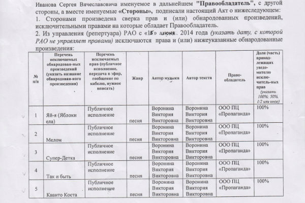Документ из РАО за 2014 год