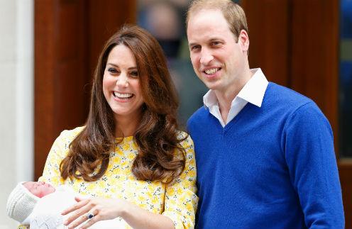 Герцогиня Кэтрин и принц Уильям с дочерью