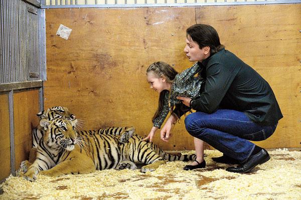 Во время съемки Эдгард впервые завел дочку в клетку с тиграми, Стефания не испугалась и потрогала большую кошку