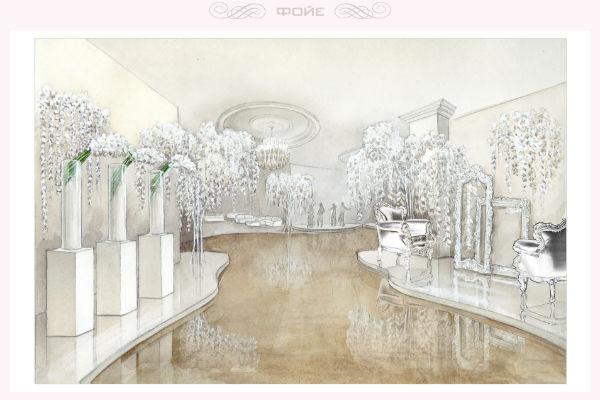 Юлия Шакирова поделилась макетами проекта, разработанного для свадьбы теледивы. Таким будет фойе