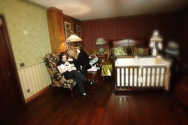 Алла и Максим с сыном Гарри в его детской