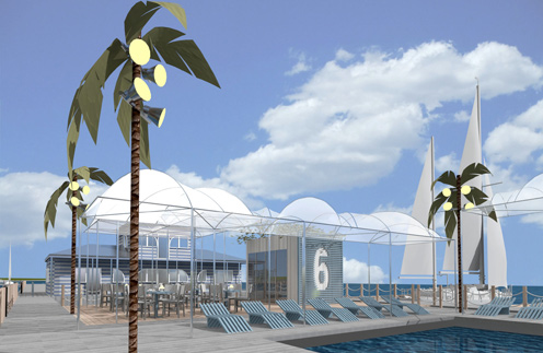 На «Городском пляже №1» есть шезлонги, зонтики, кафе и кабины для переодевания