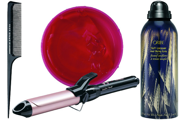 Acca Kappa Расческа, 210 руб. Nelly Воск для укладки волос Wax, 330 руб. BaByLiss Шипцы C338E Sublim Touch, 1490 руб. Oribe Лак для волос Soft Laquer, 3100 руб.