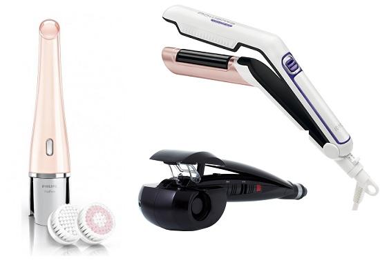 Прибор для очищения кожи лица Philips SC VisaPure, Стайлер для объема Rowenta Volum24, Электрощипцы Babyliss Curl Secret