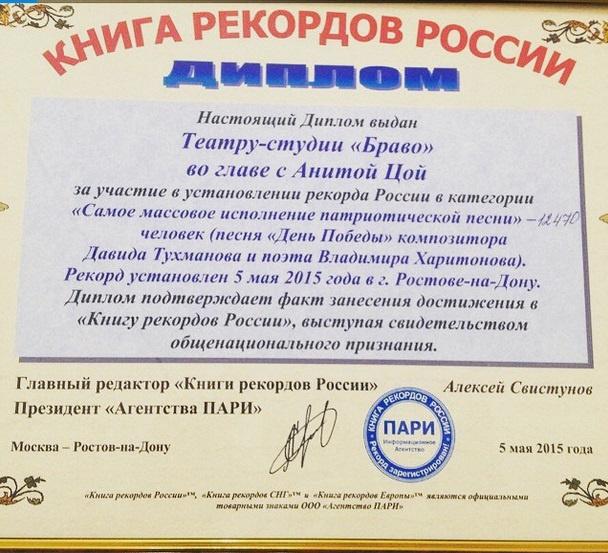 Диплом от Книги рекордов России