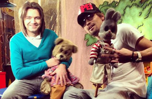 Маликов и Билан в компании игрушечных соведущих