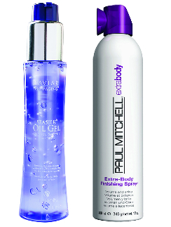 Alterna Средство для волос Oil Gel, 2600 руб. Paul Mitchell Лак для волос Extra-Body, 1200 руб.