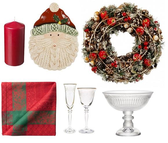 Свеча IKEA, Блюдо керамическое Уютерра, Новогодний венок Hoff, Салфетка и бокалы Zara Home, Вазочка на ножке H&M Home