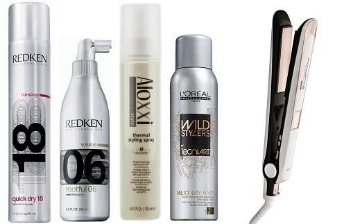 Лак для волос Redken Quick dry 18, Спрей для прикорневого объема Redken Rootful 06, Термо-защита для волос Aloxxi Thermal Spray, Текстурирующая пудра  L'oreal Professionnel Wild stylers Next day hair, Стайлер Rowenta Respectissim 7/7 sf7420