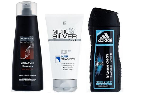 Шампунь Lorevenn с кератином, Шампунь LR с микрочастицами серебра Micro silver plus, Шампунь Adidas Intense clean Глубокое очищение
