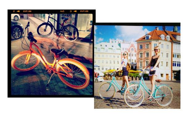 1. Любимый велосипед Полины Гагариной. 2. Полина с подругой на прогулке