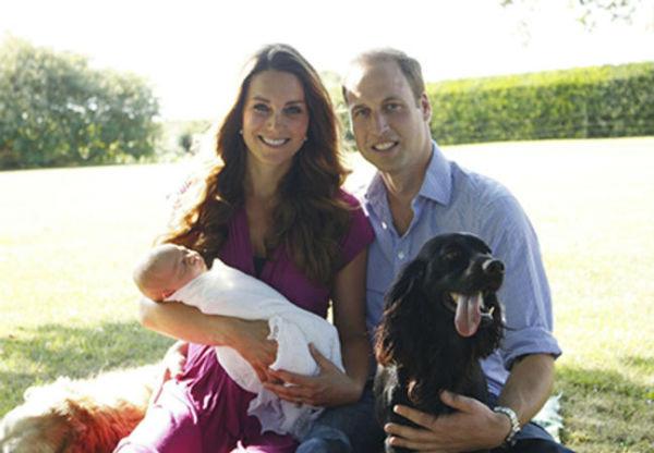 Компанию семье составили домашние любимцы: Тилли (рядом с Кейт) и Лупо (рядом с Уильямом)