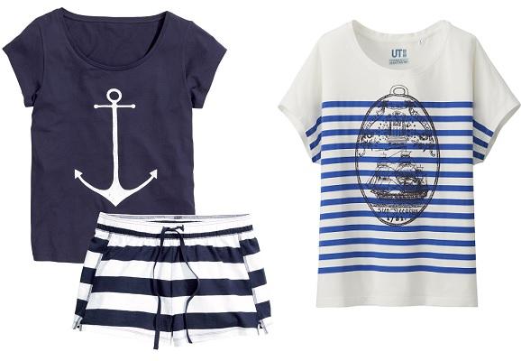 Пижама с шортами H&M, Футболка Uniqlo