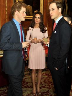 Герцогиня Кэтрин, принц Уильям и принц Гарри