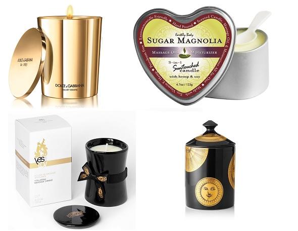 Парфюмированная свеча Dolce&Gabbana Velvet Sublime, Массажная свеча Earthly Body Sugar Magnolia, Стимулирующая массажная свеча YESoforLOV, Парфюмированная свеча Fornasetti