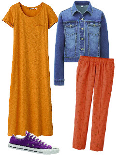 Одежда Uniqlo: Платье, 999 руб. Джинсовая куртка, 1999 руб. Брюки, 999 руб. Кеды Converse, 1780 руб.