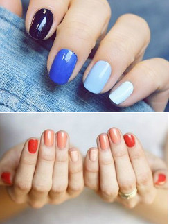 Изысканно смотрятся ногти, накрашенные одним цветом, но разными оттенками